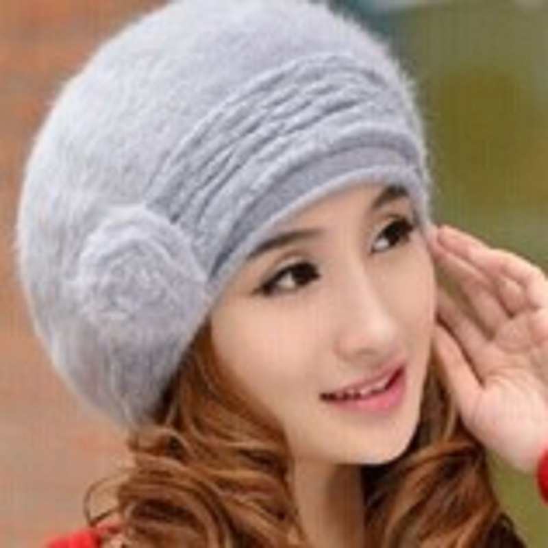 2016 New Winter Hat For Women Grey Angora Hats Women Knitted Beret Winter Hat Skullies & Beanies(China (Mainland))