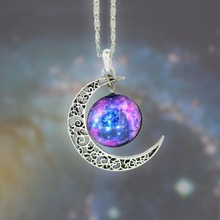 Collier Women Fashion 2014 Bijoux Necklace Jewelry Nebula Space Skyrim Glass With Piercing Moon Pendant Chain Neckless For Woman