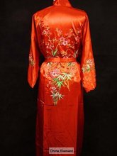 Free Shipping Red New Chinese Women's Silk Satin Eambroider Kimono Robe/Gown S M L XL XXL XXXL Zsh005A(China (Mainland))