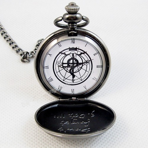 Гаджет  New Silver Tone Fullmetal Alchemist Pocket Watch Cosplay Edward Elric Anime Gift None Часы