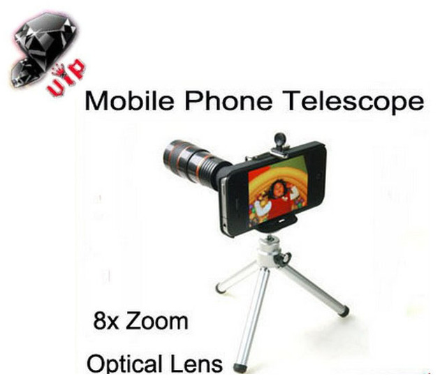 8x Optical Zoom Universal Telescope Camera Lens For iPhone 5 cellPhone Magnification Magnifier Tripod Holder best gift