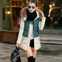 2015 new down jacket women winter down cotton-padded jacket color matching thickening hooded fur collar jackets