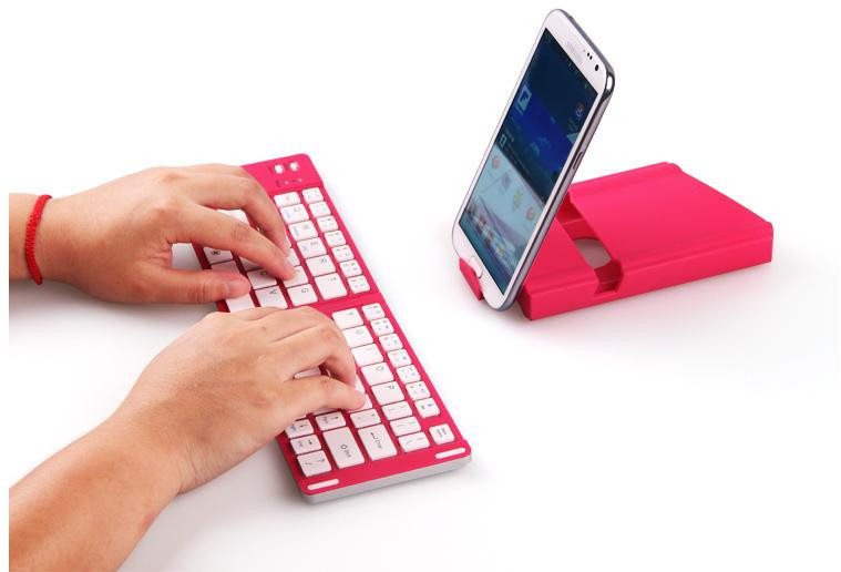 New wireless keyboard foldable Handheld Pink Keyboard Aluminum bluetooth keyboard for Windows PC Android TV Tablet Smartphone(China (Mainland))