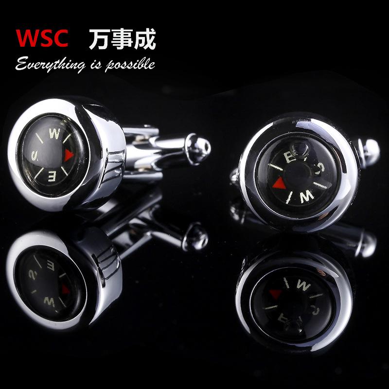 100pairs/lot The new men's personality compass cufflinks French shirt cufflinks cuff nail trade selling cufflinks(China (Mainland))