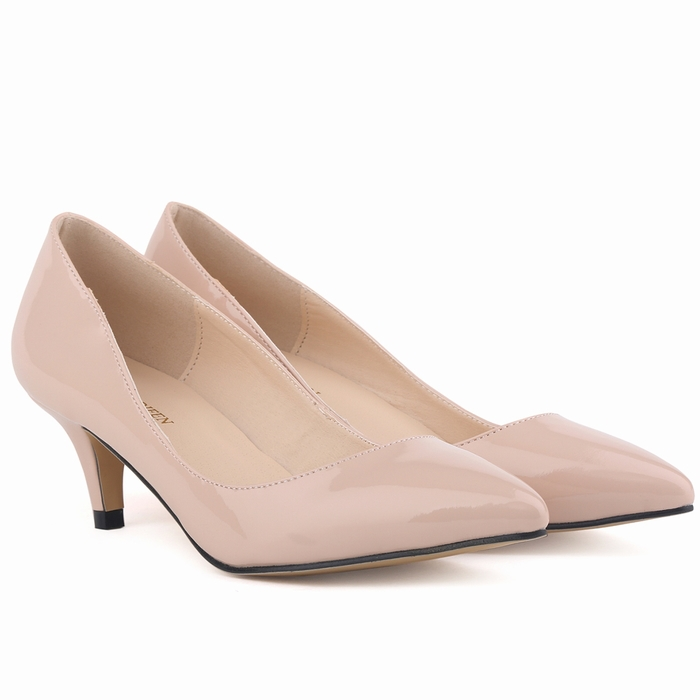 Classic Sexy Pointed Low Med Kitten Heels Women Pumps Shoes Spring Brand Design Wedding Shoes Pumps Big Size 35-42 678-1PA(China (Mainland))