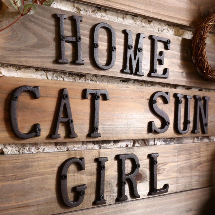 Metal Letters Alphabet Cast Iron House Sign Doorplate DIY Cafe Wall Decor Plaque