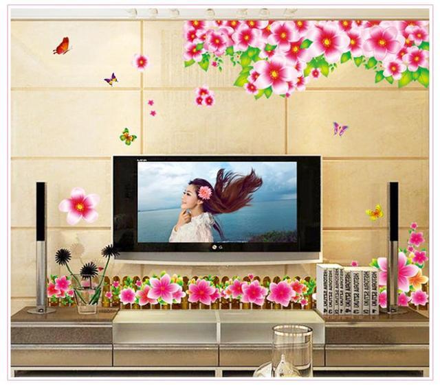Бесплатная доставка персик распустившегося цветка бабочки тв фон наклейки для ванной комнаты настенная домашнего декора