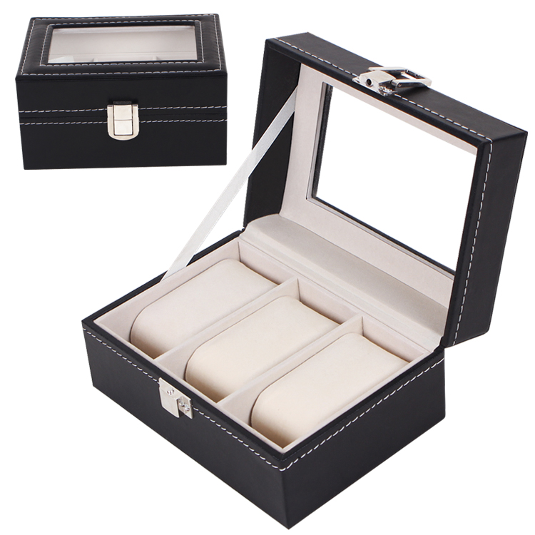 3 Slot Watch Box Black Leather Display Glass Top Jewelry Wristwatches Case Organizer + LOCK With International Tracking Number<br><br>Aliexpress