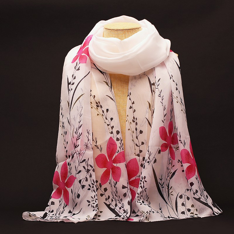 2016 New Fashion Soft Chiffon Silk Scarf Women Flower Printed Cachecol Long Shawls and Scarves Wraps Echarpes Foulard Wholesale(China (Mainland))