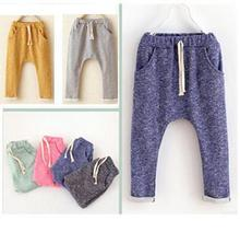 Children's cotton harem pants baby boys and girls leisure pants kids trousers boys clothes fashion Haren  turnup  trousers