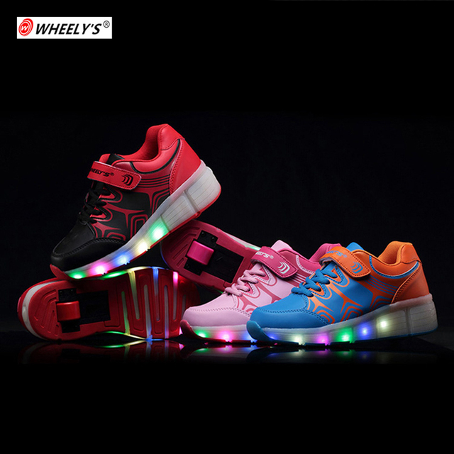 WHEELY'S Случайные Дети Роликовые Обувь свет Дети Heelys обувь с Колесами для ...