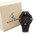 BOBO BIRD Womens Ebony Vintage Round Wood Watch One Cut Leather Strap Ladies Bamboo Wood Watches