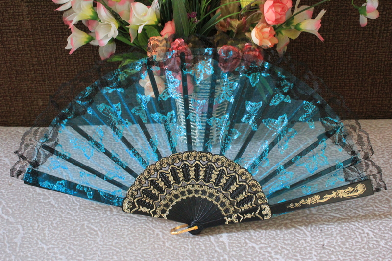 Здесь можно купить  Free shipping 25pcs/lot butterfly design organza lace wedding hand fan,party gift favor  Дом и Сад
