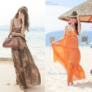 Bohemian floral skirt leopard chiffon dress V-neck harness dress mopping the floor beach skirt holiday dress
