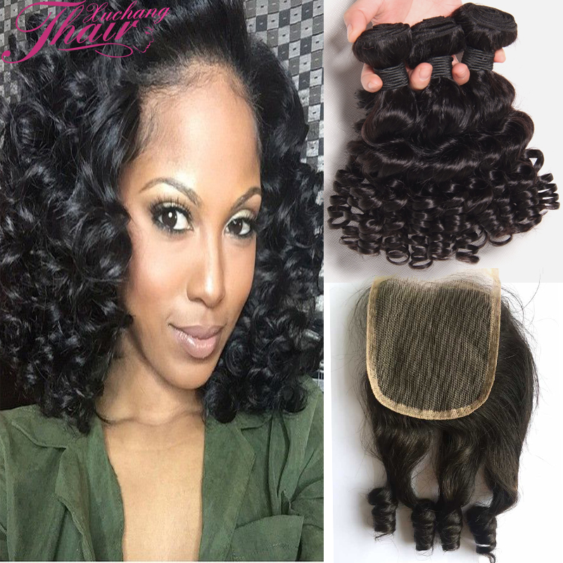Unprocessed Peruvian Original Aunty Funmi Virgin Hair 3 Bundles With Closure Cheap Bouncy Curls Human Hair Weave With Closure 1B<br><br>Aliexpress