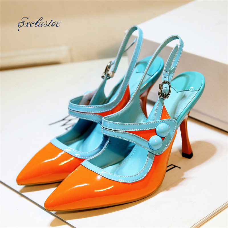 Pointed Toe Mary Janes Pumps 2016 Autumn Fashion Patent Leather Thin Heels Women Shoe Green Orange Cheap High Quality Brand(China (Mainland))