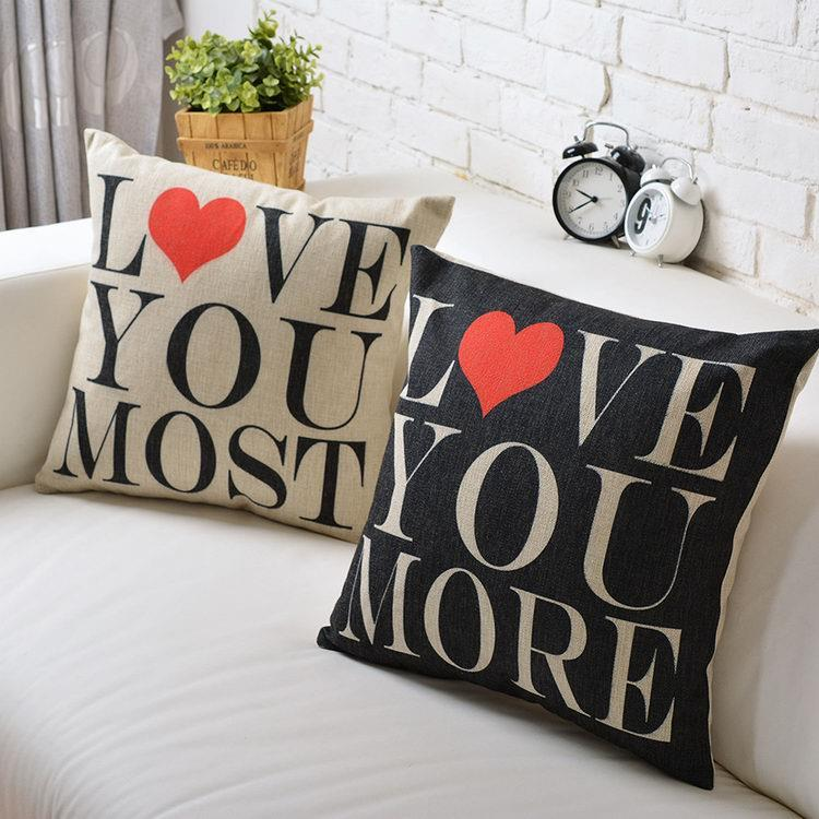 Free Shipping Black I love you Linen Fabric Throw Pillow Hot Sale New Home Fashion Christmas Decor 45cm Bar Sofa Car Cushion