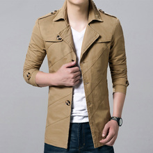 2016 Sping Trench Coat Men Single Breasted Trench Coat Men Outerwear Casual Coat Men's Jackets Windbreaker Mens Trench Coat 4XL(China (Mainland))