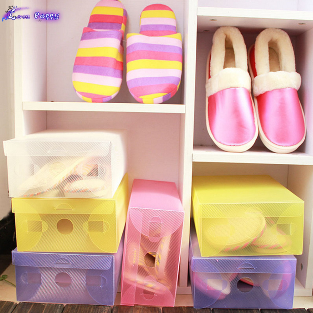Stackable Transparent Candy Color Hot Storage Box Boot Shoe Organizer Foldable 0064(China (Mainland))