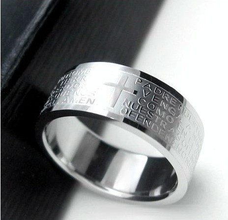 silver rings for men women Stainless Steel Bible Lord's Prayer Cross Rings Punk fashion Men gift Jewelry rings(China (Mainland))