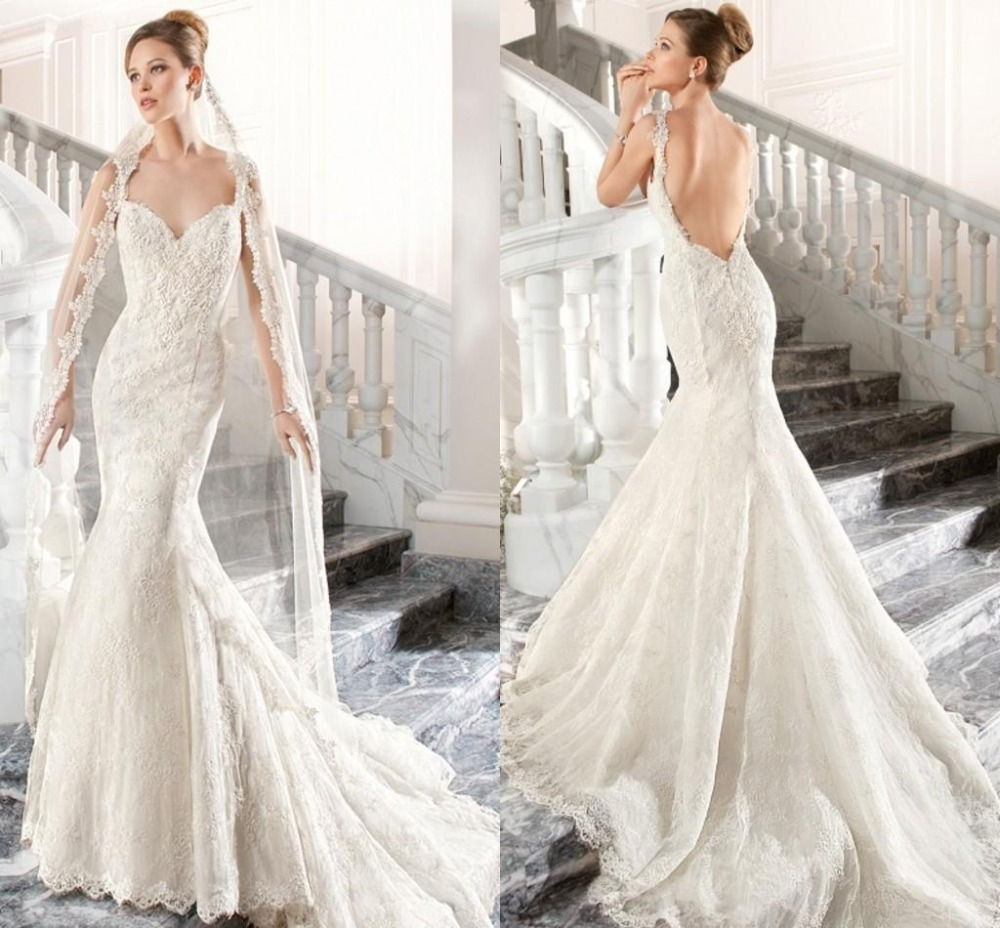 2015 romantic mermaid garden wedding dresses lace vintage for Vintage backless wedding dresses