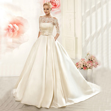 Vnaix W3099 Luxruy Ball Gown Lace Wedding Dresses 2015 Satin With Jacket See Though 3/4 Sleeves Sweep Train Bridal Wedding Gown(China (Mainland))