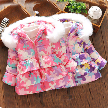 2016 baby girls clothes winter warm down coat  long sleeve hooded jacket Thicken outerwear kids clothing fashion girls coat