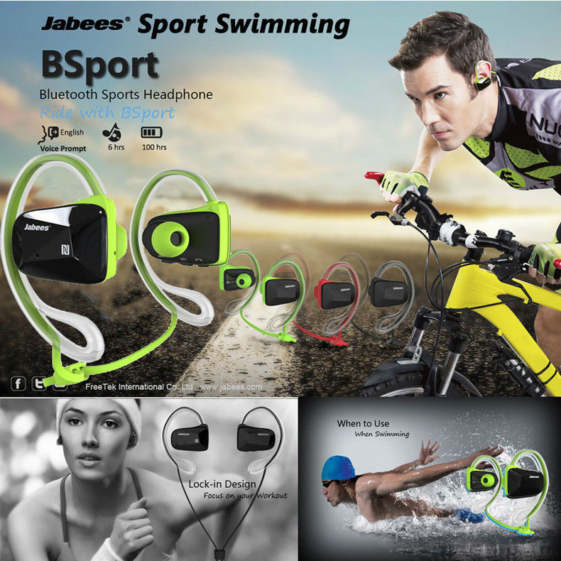 Jabees bsport Universal professional sports bluetooth 4.0 earphones stereo Waterproof Swimming headset wireless headphone+call(China (Mainland))