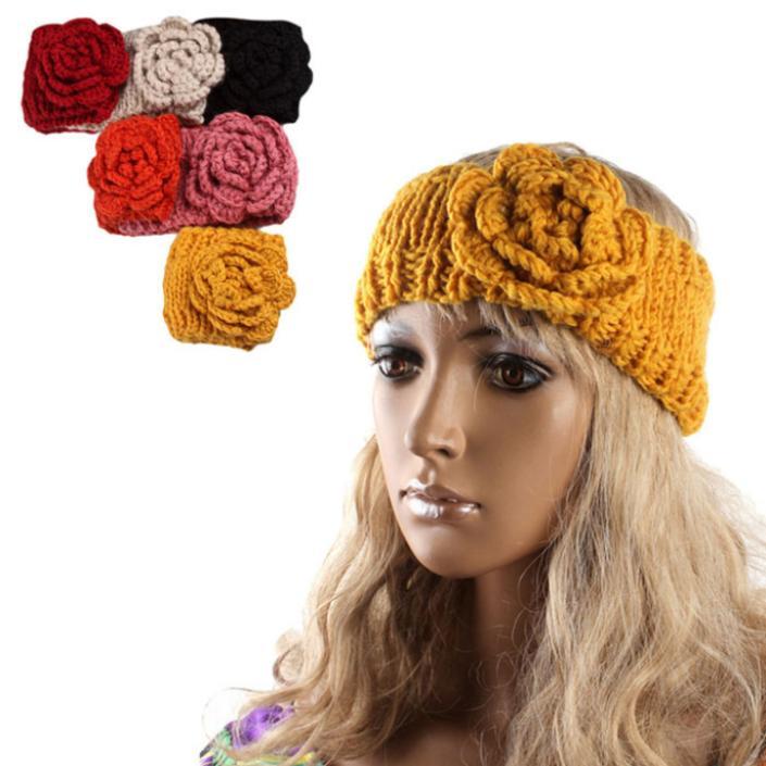 Creative New Women Crochet Headband Knit Hairband Flower Winter Ear Warmer Head wrap(China (Mainland))