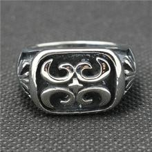 316L Stainless Steel Punk Gothic Cross Vintage Flower New Ring