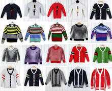 Retail 1 pcs High-quality girl boys sweater brand kids Striped Knit Pullover Classic style children's winter cardigans sweater(China (Mainland))