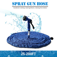 Hot Selling 100FT Expandable Magic Flexible Garden Water Hose For Car Hose Pipe Plastic Hoses To Watering With Spray Gun BLUE(China (Mainland))
