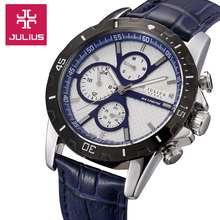Julius hombres de Homme reloj de cuarzo horas mejor vestido de moda de corea venda de cuero pulsera regalo de cumpleaños del muchacho JAH056