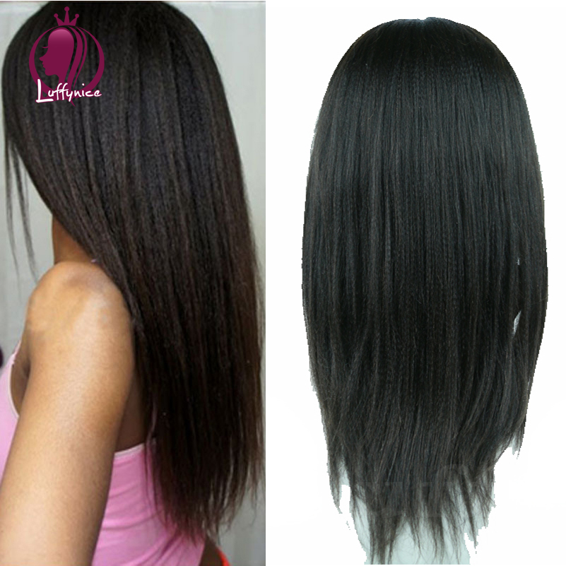 Здесь можно купить  Wholesale Brazilian Virgin Hair Kinky Yaki straight Best Full Lace Human Hair Wigs for Black Women Lace Front Wig U Part Wigs  Волосы и аксессуары
