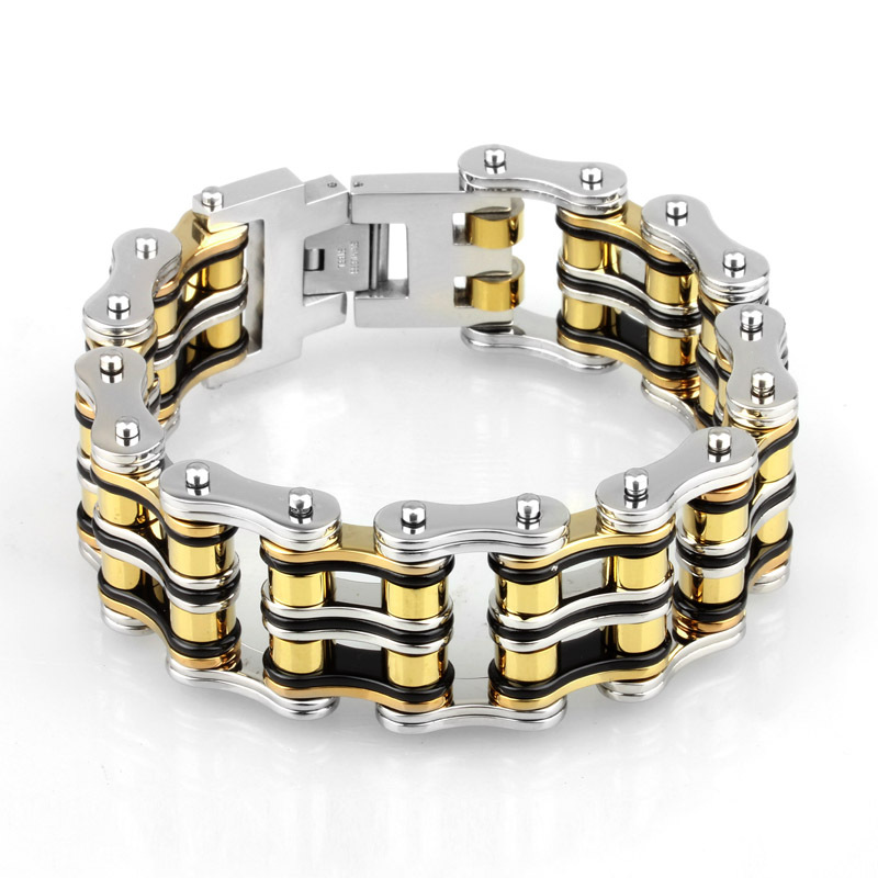 21mm Wide Double Line Motor Biker Link Chain Bracelet Mens Multi Color Gold Black Silver Color Stainless Steel Party Jewelry(China (Mainland))