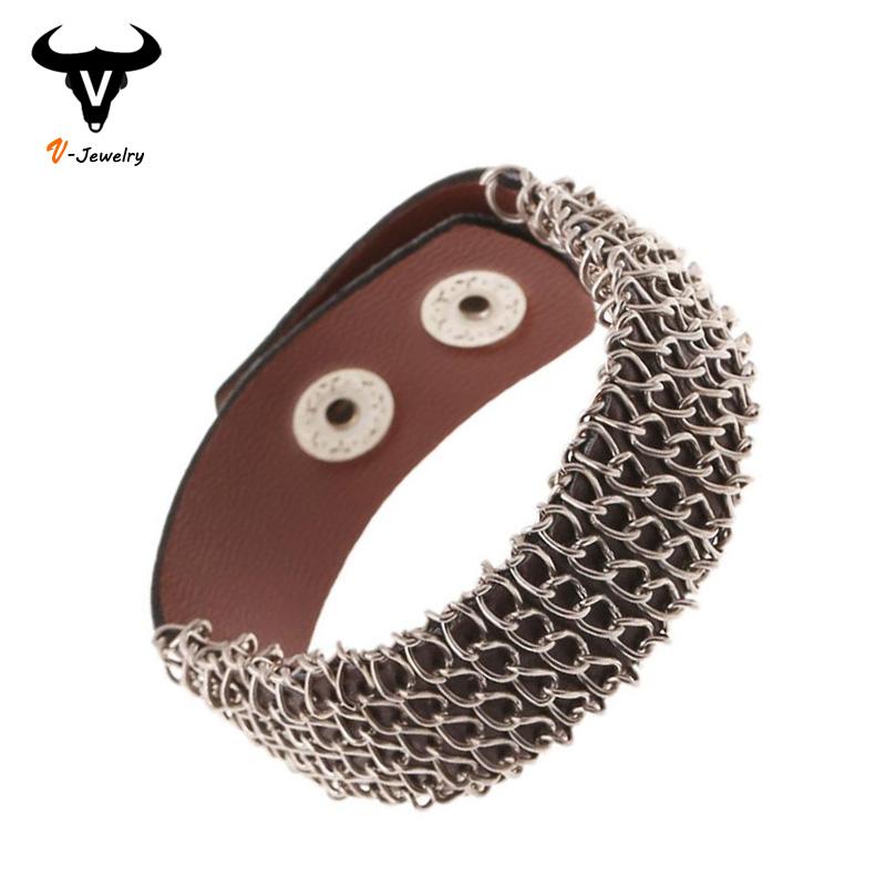 2016 New Fashion Imitation Leather Charm Bracelets Punk Rock Men Wristband Cuff Bangles Long Metal Chain Wrap Bracelet Jewellery - V-jewelry Trade Co.,Ltd store