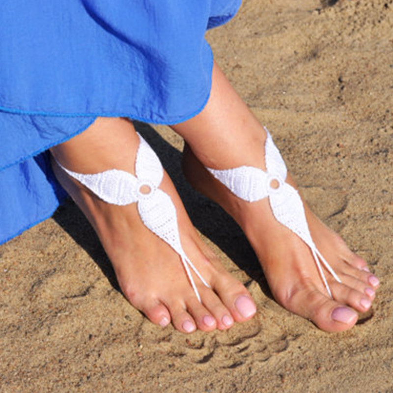 Crochet White Barefoot Sandals, Foot jewelry, Bridesmaid gift, Barefoot sandles, Beach, Anklet, Wedding shoes, Beach Wedding(China (Mainland))