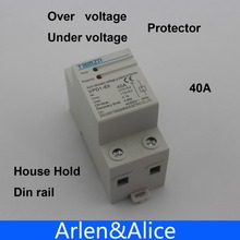 40A 230V Din rail automatic recovery reconnect over voltage and under voltage protective device protector protection relay(China (Mainland))