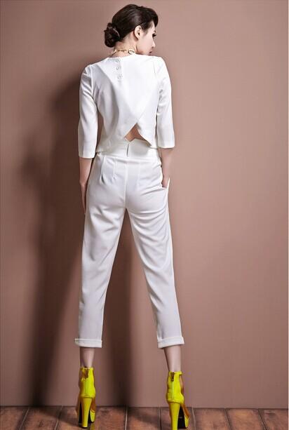 Женщины весна осень элегантный женщины в комплект 2 шт. / комплект блузы shitr + 9 минут брюки женщины костюмы g0541