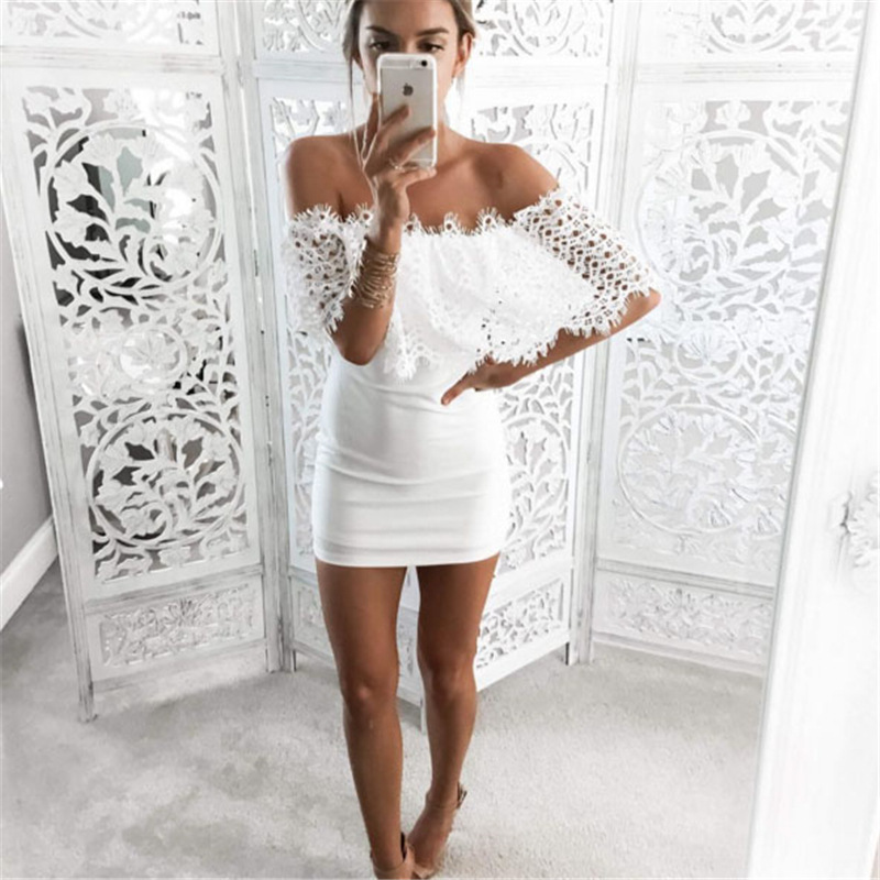 2016 Women White Lace Dress Stitching Off Shoulder Strapless Summer Sexy Bodycon Bandage Dress Slash Neck Party Dresses Vestidos(China (Mainland))