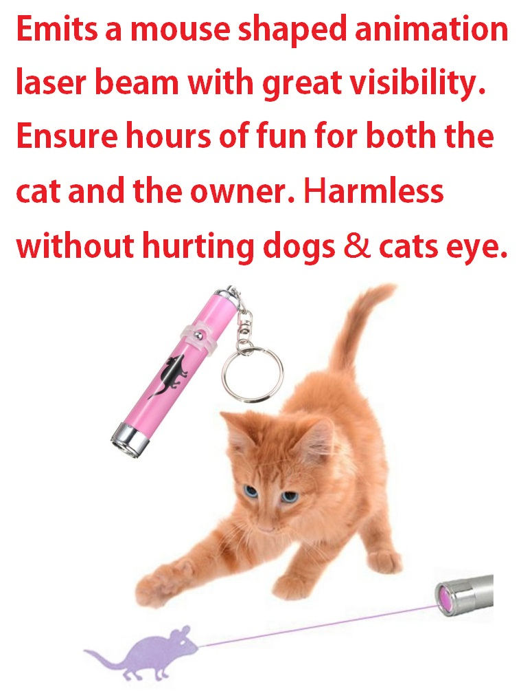 Free Shipping !!! Pet Cat Play Toy LED Laser Pointer Light with Bright Mouse Animation(China (Mainland))