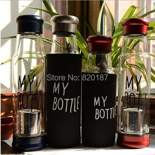With bag 2015 top grade 420ml Fashion sport My bottle lemon juice readily cup space cup water bottles with Glass Material(China (Mainland))