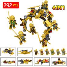 Legoinglys золото ninjagoed фигурки оружие борьба модель здания Конструкторы Кирпичи 6 в 1 Дети Best подарок Игрушки для маленьких детей для детей(China)