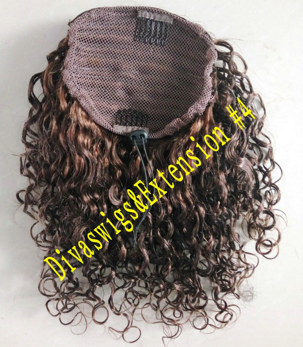 140g Halle berry Clip in medium brown kinky curly wrap around brazilian hair drawstring ponytails clip in hair extension(China (Mainland))