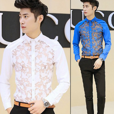 2015-NEW-Luxury-Casual-Slim-Fit-Stylish-Dress-Shirt-Fashion-Cool-Men-Evening-Club-Lace ...