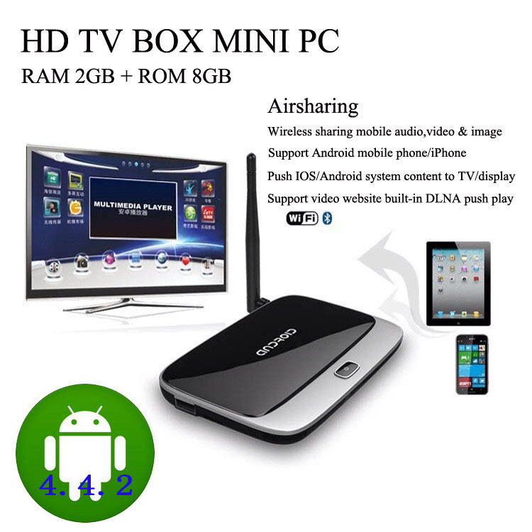 Android System Mini PC TV BOX Media Play Quad-Core TV Player 2GB / 8GB TF Card Up To 32GB HDMI Cable Bluetooth 4.0(China (Mainland))