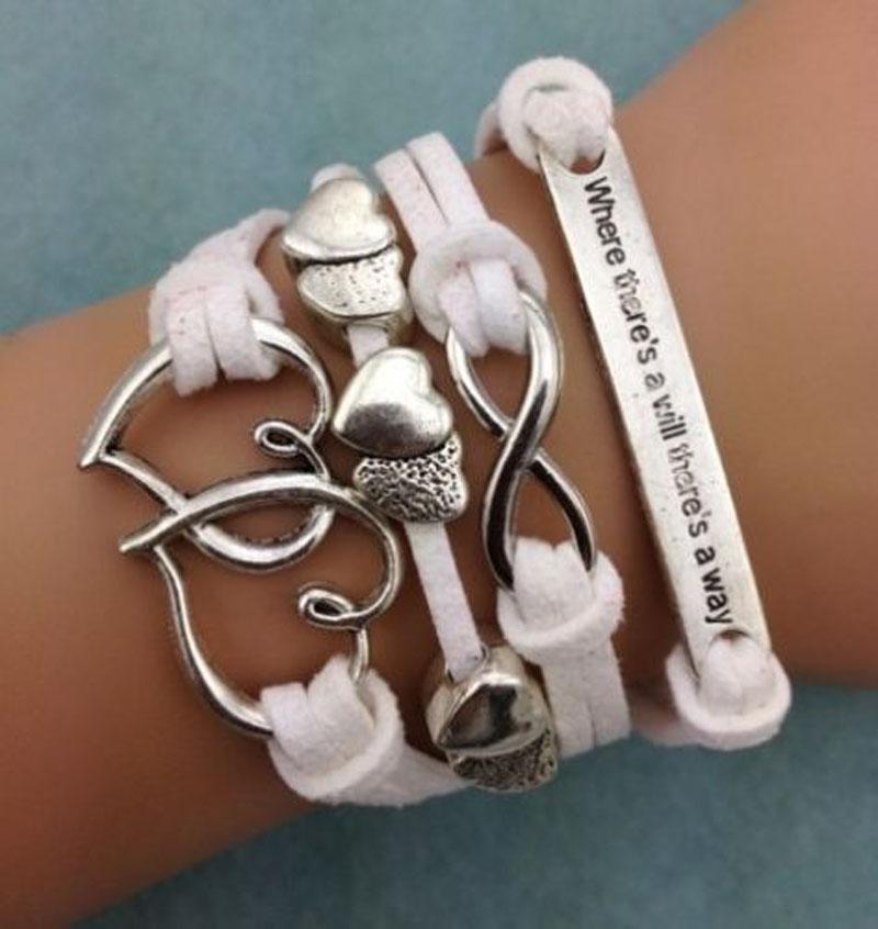 Handmade Bracelet Love Heart Charms Infinity Bracelet Leather Braclet Couple Gift(China (Mainland))