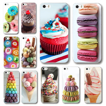 Phone case cover For iPhone 5c Lovely sweet patterns dessert ice cream Macarons styles hard PC back cover Free shipping WHD1477(China (Mainland))