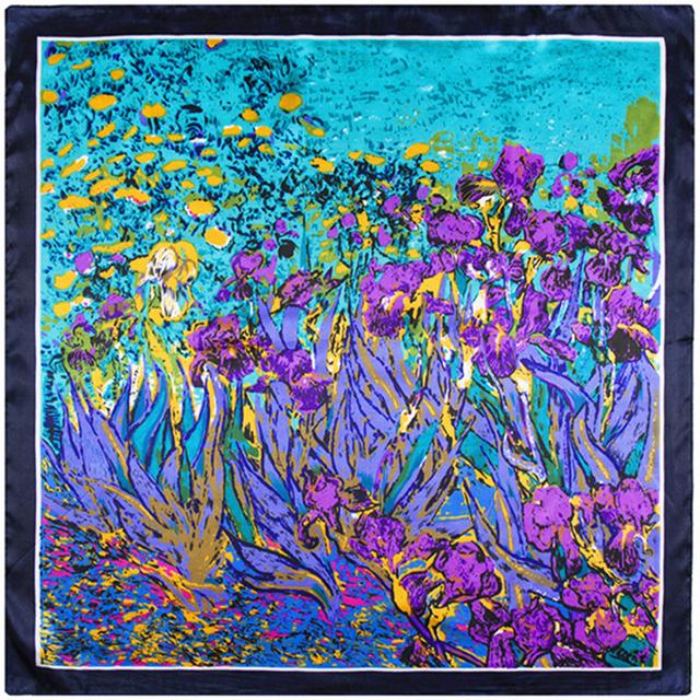 60 см * 60 см весна и лето женщин шарф мода леди шелковые шарфы 2016 тюльпан цветочным узором цифровая печать женский глушитель