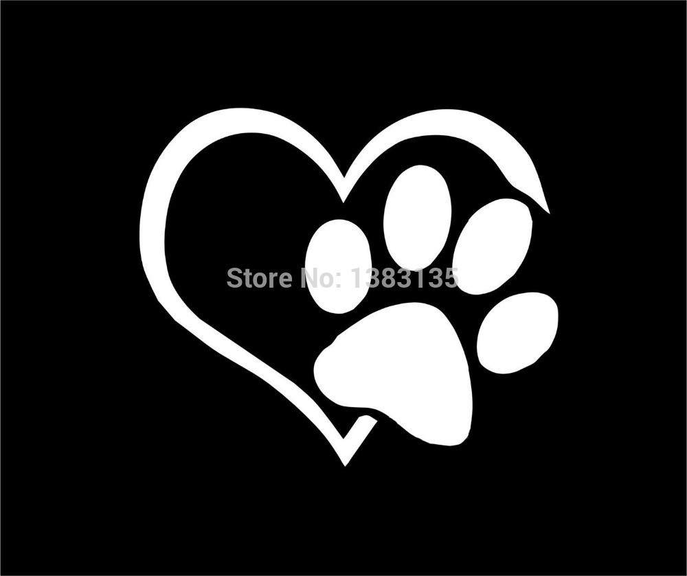 Heart Paw Vinyl Decal Car Truck Sticker Bumper Window Adopt Bully Heart Cat Dog Laptop Boat Truck Auto 8 Colors(China (Mainland))